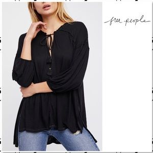 Free People Just a Henley Black V Neck Tunic Top S